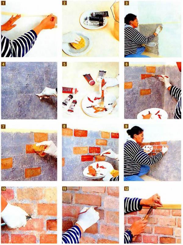 Как сделать стену под кирпич
